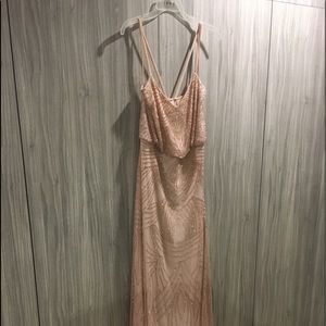 Adriana Papell Beaded blouson gown blush